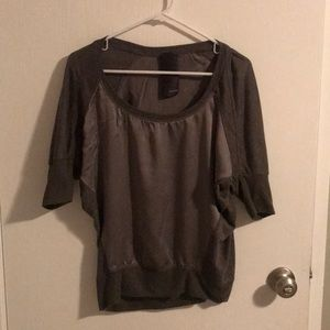 Heather Gray Silk Blend Batwing Blouse